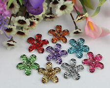 20pcs mixed colors acrylic rhinestone flower cabochon 30mm #22213