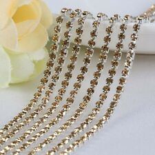 10Yard Thin Crystal Rhinestone Close Cup Chain Trim Claw Chain Jewelry Craft DIY