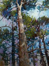 On the pine branches  Forest Birds  on the tree  by AVDEEV RUSSIAN oil Painting