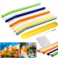 Reusable Glass Drinking Straw Xmas Party Wedding Straws w/ Cleaning Brush Kit