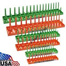 Hansen 6pc Socket Organizer Tray Rack Holder 1/4 3/8 1/2 in. Green Metric Orange