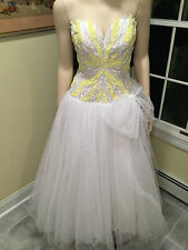 Rare Paris Couture Gown Claude Riha Dress White Yellow Beaded Sequin 0 2 XS VTG
