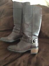Ladies HUSH PUPPIES Comfort Brown Leather Spool Heel Knee High Boots, UK Size 4