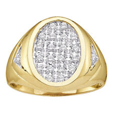 10k Yellow Gold Mens Round Prong-set Diamond Oval Cluster Ring 1/4 Cttw