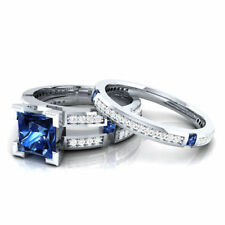 3.00ct Blue Sapphire Princess Cut 925 Sterling Silver BridalSet Engagement Ring