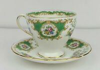Vintage EB Foley Green Broadway Pattern Bone China Tea Cup & Saucer England