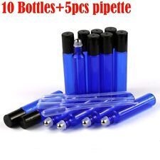 10Pcs 10ml Blue Glass Bottles Roller ball Perfume Essential Oil Roll On Ball NEW