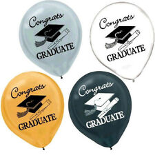 """Congrats Grad"" Assorted Latex Balloons-15 count-NEW-12in round"