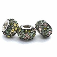 Lot 3 Sterling Silver & Crystal Chamilia Kaleidoscope Charm Beads Green Yellow