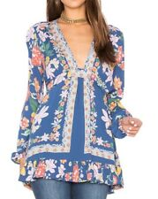 NWT $108 Free People Violet Hill Peasant Floral Top Boho Blouse Blue Size 0