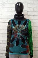 DESIGUAL Donna XS Maglione Felpa Pullover Cotone Sweater Cardigan Woman Cotone