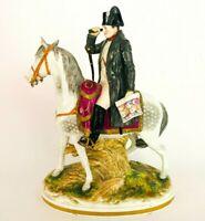 Fine Antique 1800s Muller Volkstedt Porcelain Napoleon on Horseback Figurine