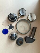 New listing Microscope Lot of Parts - 2 Condensers w/3 filters, 2 mirrors, circular stage pi
