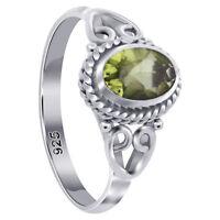 925 Sterling Silver Oval Shape Peridot Gemstone Bali Women's Ring