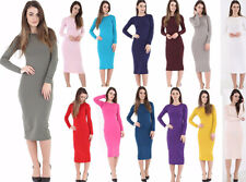 WOMENS LADIES LONG SLEEVE *MAXI* DRESS STRETCH BODY CON PLAIN JERSEY S/M-3XL