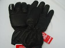 New Reusch Ski Noram Deluxe Gloves Black ALL LEATHER Adult #4599155 Large (10)