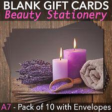 Gift Voucher Card Massage/Beauty/Spa/Holistic Salon - x10 + FREE Envelopes CAN
