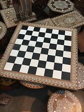 20Inches (52cm) Large Handmade Indian White  Inlaid Folding Chess  32 Pieces