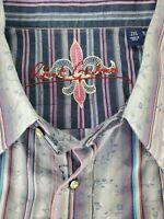 Robert Graham Mens Purple Striped Floral Long Sleeve Flip Cuff Shirt Size 2XL