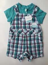 M&Co Baby Boy Check Dungarees Shorts + Tee Size 00 Fits 3-6mths * Gift Idea*
