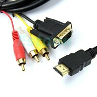 1PC New 5Feet 1.5M Gold HDMI to VGA 3 RCA Converter Adapter Cable 1080p For HDTV