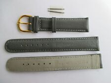 Uhrenarmband, 8 mm breit, grau, Kalbsleder. 2 Stege, Armband, Uhrenband, Leder