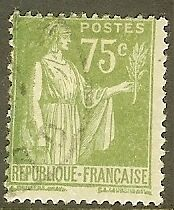 """FRANCE TIMBRE STAMP N°284A """"TYPE PAIX, 75 C OLIVE"""" OBLITERE TB"""