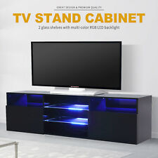 High Gloss Black LED TV Stand Unit 2 Drawers Cabinet Shelf Console Furniture