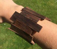 Wooden Panel Bracelet Sono Wood Elasticated FairTrade Handmade Attractive Grain
