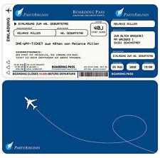 50 Einladungskarten zum Geburtstag - Flugticket mit echter Perforation - 300g
