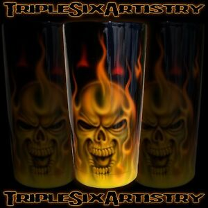 Airbrushed Tumbler Cup Natural Fire Skull Flame Jaymz Triple Six Artistry 20 oz