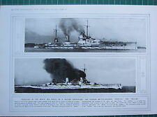 1915 WWI WW1 PRINT ~ DEFEATED IN THE NORTH SEA GERMAN BATTLE-CRUISERS SEYDLITZ