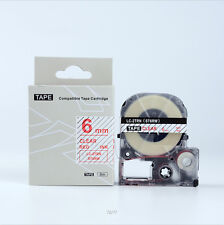 Compatible EPSON6mm LC-2TRN Label Tape Red on Clear 6mm 8m lw300 400 lw500