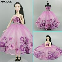 Purple Floral Ballet Dress For Barbie Doll Clothes Outfits 1/6 Doll Accessories