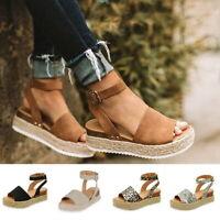 US STO Women Ankle Strap Flatform Espadrilles Ladies Platform Wedges Shoes Size