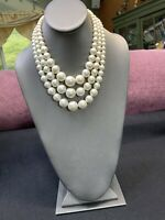 Vintage 1950S Faceted Graduated Large white Pearl Three Necklace 17-19""