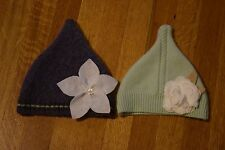 2 Baby Girl's Hats Handmade from Recycled Sweaters Green Cashmere Purple Wool