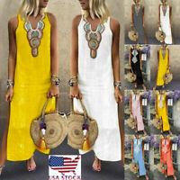 Women's Printed Sleeveless V-neck Maxi Dress Split Hem Baggy Kaftan Long Dress