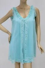 vintage Nightie Double nylon Bright Blue Lace short Nightgown Large