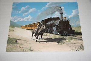 "ART  COLOR PRINT D&RGW PASS TRAIN W/ COWBOY 8""X 10"" FROM ESTATE"