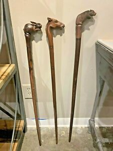 Unique Wood Carved Cane Stick, Home Accent Wall Art Stick
