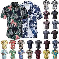 Mens Hawaiian Retro Short Sleeve Shirt Summer Casual Beach Holiday Slim Fit Tops