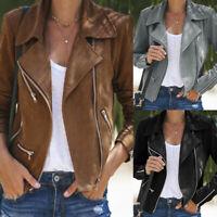 Women's Ladies Zip Up Casual Suede Leather Jacket Flight Coat Biker Tops Clothes
