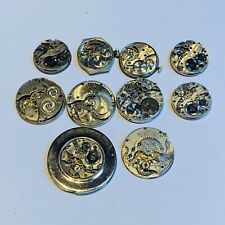BULK LOT OF SMALL SIZE POCKET WATCH MOVEMENTS - WALTHAM, GRUEN AND MORE+ (T19)