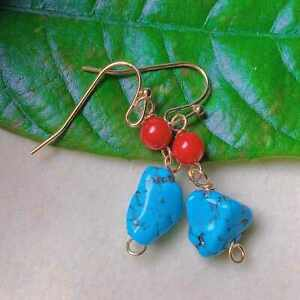 Fashion natural South red beads Blue Turquoise gold earrings gift Ear stud