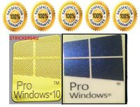1 x Pr0 Window 10 Gold Logo Sticker Decals & Free Pro Windows Blue 10.