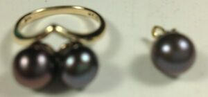 10KY ring and 14KY pendant, black cultured pearls, #15692