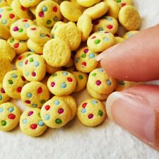 10x Loose M&M Cookies Biscuits Dollhouse Miniatures Food Bakery Barbie Decor Set
