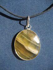 Handmade Multi Fluorite Talisman Silver Pendant with Cord Necklace PJ001 Crystal