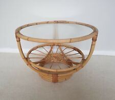 Vintage Mid Century Bamboo Rattan Round coffee Table 60's 70's bentwood